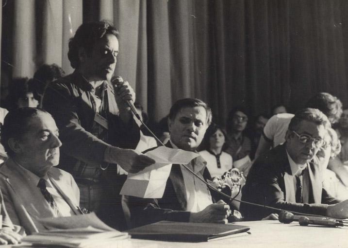 29º Reunião Anual SBPC Maurício Rocha e Silva, Douglas Teixeira Monteiro, Oscar Sala, Luis Edmundo de Magalhães, Carolina M. Bori e Renato Basile Julho de 1977, São Paulo - SP.