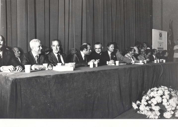 29º Reunião Anual SBPC José Ribeiro do Valle, Franco Montoro, [S/I], D. Paulo Evaristo Arns, Oscar Sala, Maurício Rocha e Silva, Newton Freire-Maia, Renato Basile e Carolina M. Bori Julho de 1977, São Paulo - SP.