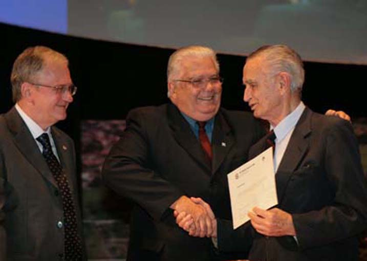 60º Reunião Anual SBPC, realizada em 2008 na Unicamp, Campinas (SP) - Marco Antonio Zago (CNPq), Marco Antonio Raupp e Crodowaldo Pavan.