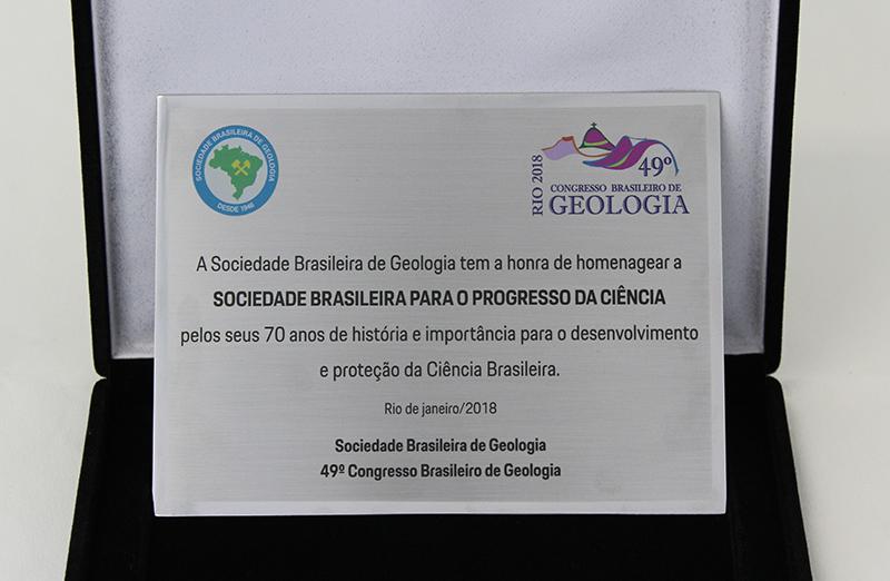 Placa de homenagem à SBPC pelos seus 70 anos, concedida pela Sociedade Brasileira de Geologia (SBG)