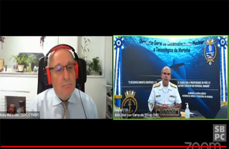 A conferência 'Ciência, tecnologia e inovação na Marinha do Brasil', proferida pelo almirante Marcos Olsen, teve apresentação do vice-presidente da SBPC, Aldo Malavasi, no dia 08 de outubro, durante a 72ª Reunião Anual da SBPC.